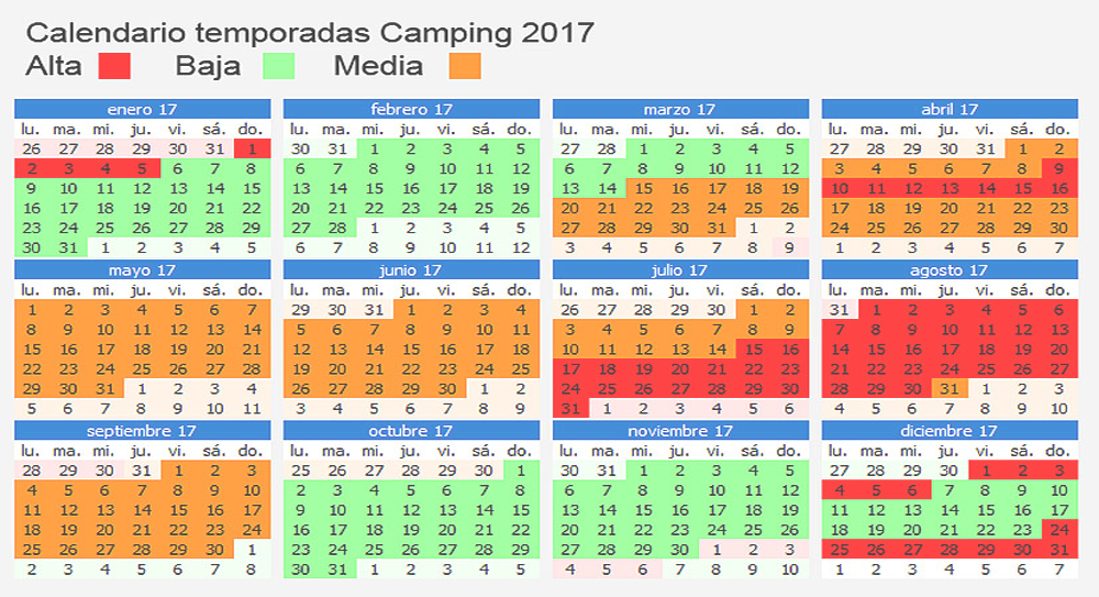 camping calendrier 2017
